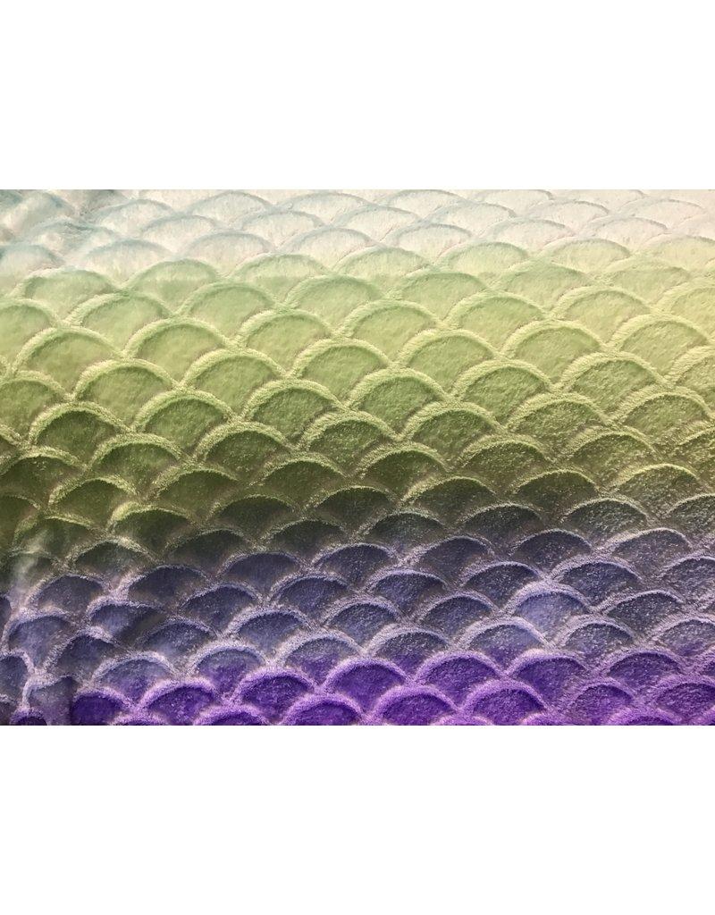 Fleece Flannel  Mermaid Ombre Blue Green  100% Polyester