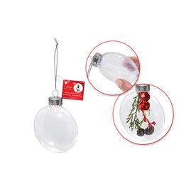 Seasonal Décor: 8cm DIY Plastic Flat Round Ornament w/Met Cap + Cord