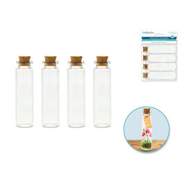 Glass Bottles: Mini Containers w/Cork Lid x4 16ml