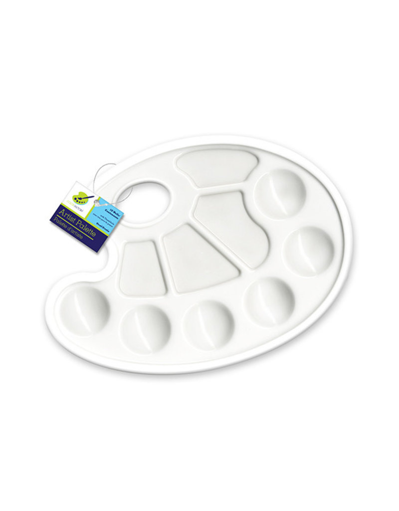 """Color Factory Paint Palette: 9""""x7"""" Plastic Oval 10-Well w/Thumbhole"""