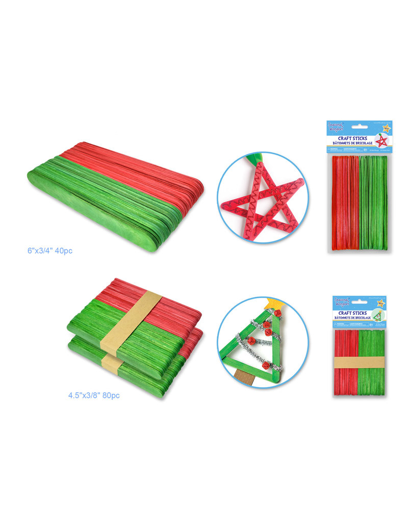 "Seasonal Wonders: Holiday Craft Sticks asst 2 styles 4.5""x3/8 & 6""x3/4"""