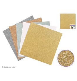 "Scrapbook Paper: 12""x12"" Glitter Cardstock 190gsm Asst 5col B) Metallique"