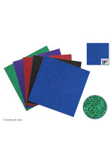 "Scrapbook Paper: 12""x12"" Glitter Cardstock 190gsm Asst 5col C) Primary"