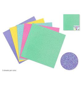 """Scrapbook Paper: 12""""x12"""" Glitter Cardstock 190gsm Asst 5col D) Iridescent"""