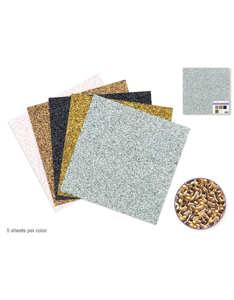 """Scrapbook Paper: 12""""x12"""" Glitter Tubes Cardstock 190gsm Asst 5col"""