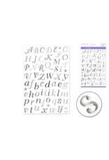 "Paper Craft Sticker: 5.5""x8.25"" Foil w/Gems F) Script Alpha Silver"