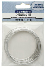 BEADALON MEMORY WIRE BRACELET .5oz 2.25-2.63in LARGE PLATED SILVER