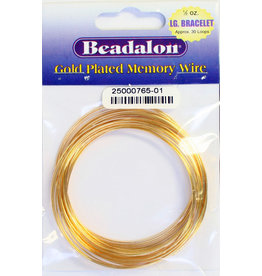BEADALON MEMORY WIRE BRACELET .5oz 2.25-2.63in LARGE PLATED GOLD
