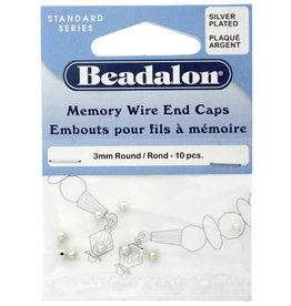 BEADALON MEMORY WIRE END CAPS 3mm ROUND PLATED SILVER