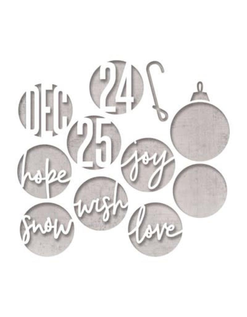 Tim Holtz Sizzix Thinlits Die Set, Circle Words, Christmas (12pk)