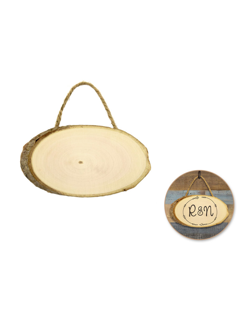 Craftwood: 13.5x7.5x0.9cm Oval Plaque w/Jute Cord
