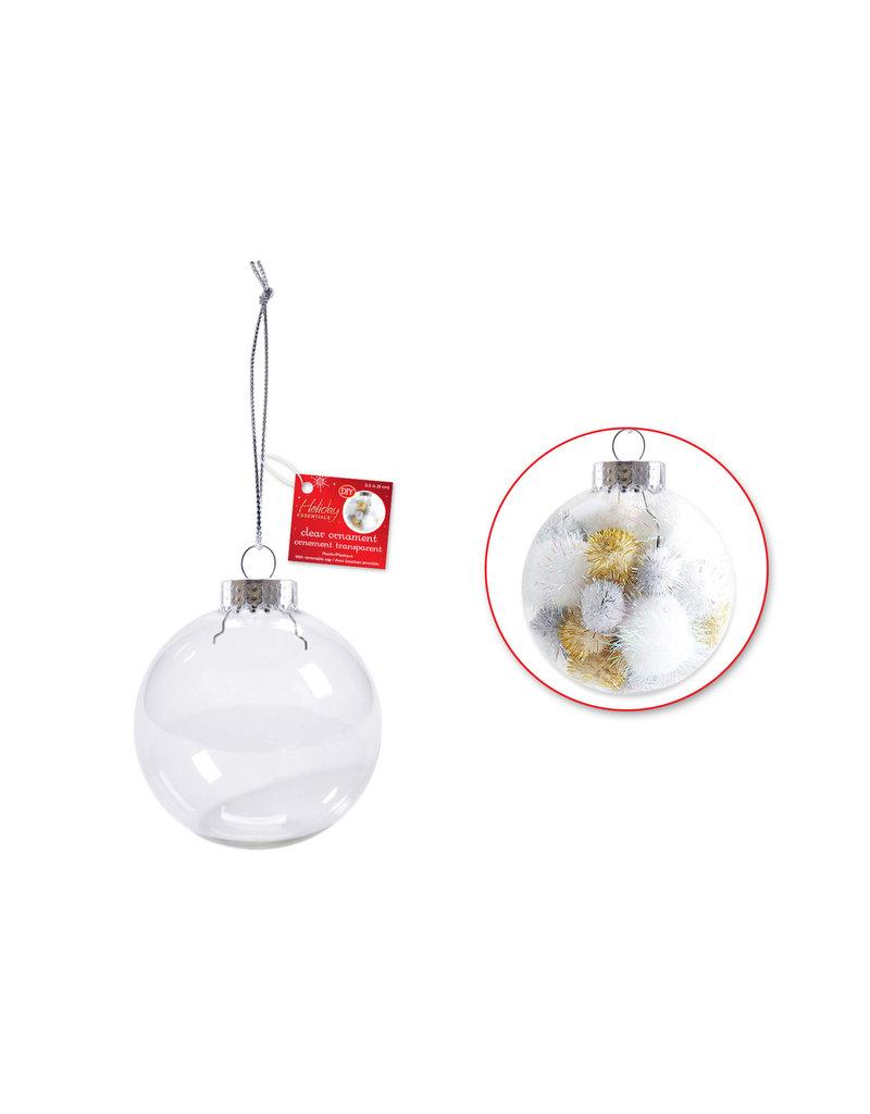 Seasonal Décor: 9cm DIY Plastic Ornament w/Met Cap + Cord