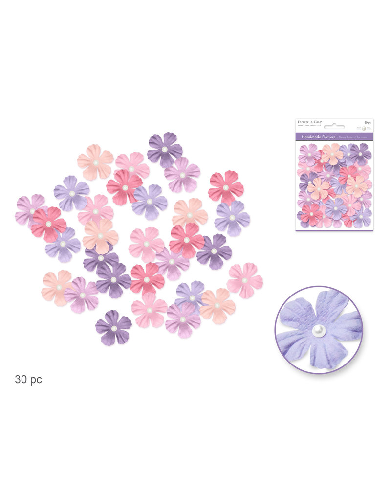Floral Embellish: 33mm Handmade Paper Flowers 30pc w/Pearl Calyx B) Pretty