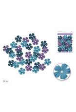 Floral Embellish: 33mm Handmade Paper Flowers 30pc w/Pearl Calyx C) Dusk