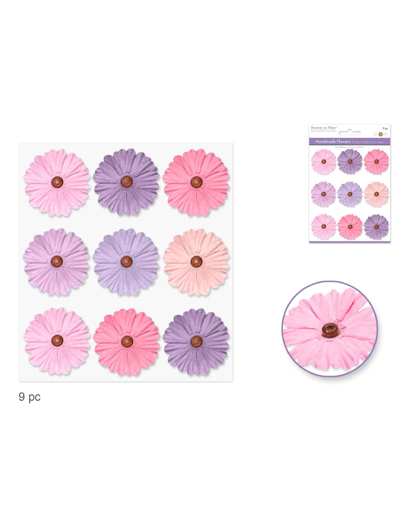 Floral Embellish: 34mm Handmade Paper Flowers 9pc Self-Stick w/Bead Calyx B) Pretty
