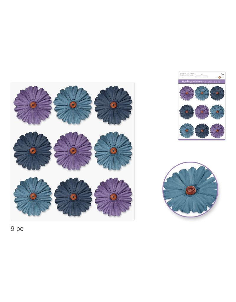 Floral Embellish: 34mm Handmade Paper Flowers 9pc Self-Stick w/Bead Calyx C) Dusk