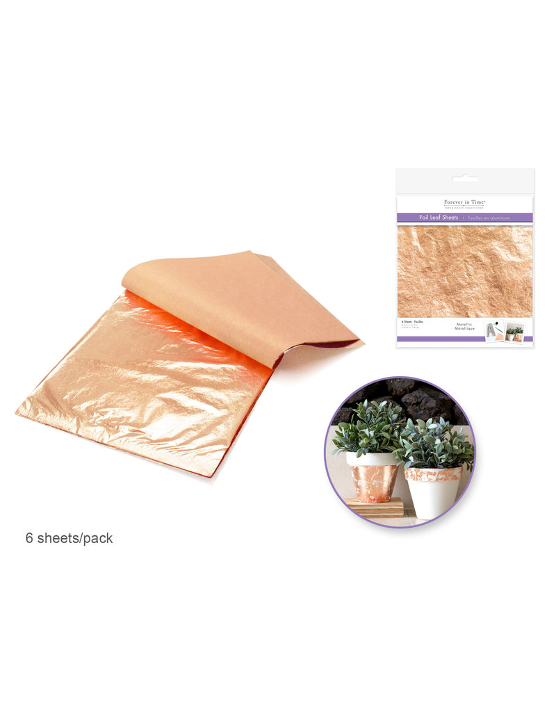 Paper Craft Embellishment: Metallic Foil Leaf Sheets x6