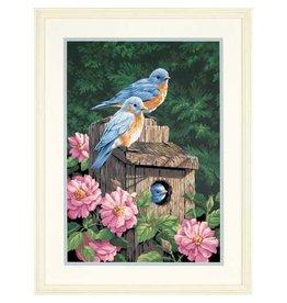 """Paint By Number - Garden Bluebirds 20"""" x 16"""""""