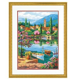 """Village Lake Afternoon - 20""""x14"""" Paint by Number"""