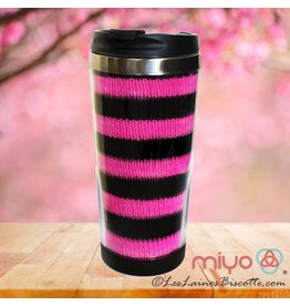 Biscotte Yarns Biscotte Yarns Travel Mug - Knit Your Own - Black Mug - Pink and Pur Yarn