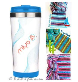 Biscotte Yarns Biscotte Yarns Travel Mug - Knit Your Own - Blue Mug - Sur Mon Voilier Yarn
