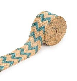 Darice ChevronBurlap Ribbon - Aqua Blue - 2.5 inches x 10 yards