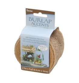 Darice Burlap Roll w/ Wired Edge - 240 GSM - 2.5 inches x 5 yards