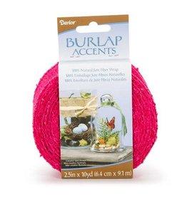 Darice ColoredBurlap Ribbon - Fuchsia Pink - 2.5 inches x 10 yards
