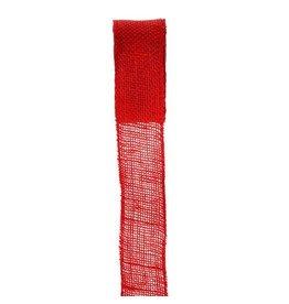 Darice Burlap Ribbon - Red - Sewn Edge - 2.5 inches x 10 yards