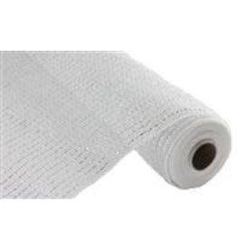 """Craig Bachman 10""""X10yd Wide Foil Mesh White W/Laser Silver Foil"""