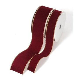 Darice Burgundy Wire-Edged Velvet Ribbon - Gold Edge - 20 yards x 2.5 inch