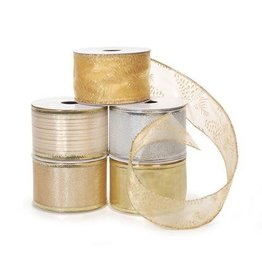 Darice Assorted Wired Ribbon - Silver and Gold - 2 inches - 3 yards