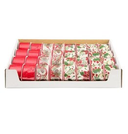 Darice Christmas Berry and Pine Ribbon: 2.5in x 25 feet