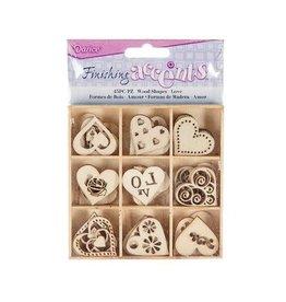 Darice Mini Laser Cut Wood Shapes - Hearts Theme - 45 pieces