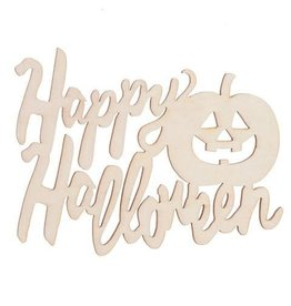 Darice Laser Cut Happy Halloween Wood Cutout - Unfinished - 5 x 3.25 in