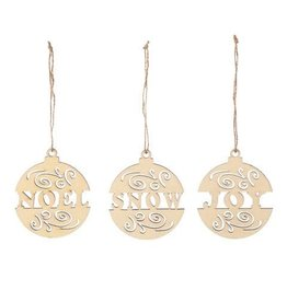Darice Unfinished Laser Cut Wood Ornaments with Words - 3 Assorted Styles