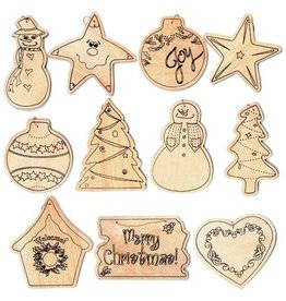 Darice Wood Christmas Ornaments - Assorted Styles