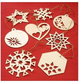 Darice Laser Cut Wood Ornament - 16 Asst Designs - Natural