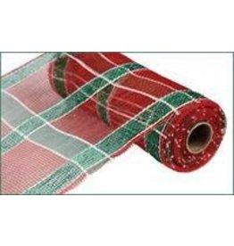 "Craig Bachman 10""X10yd White Stripe Plaid Mesh Red Plaid W/Emerald Foil"