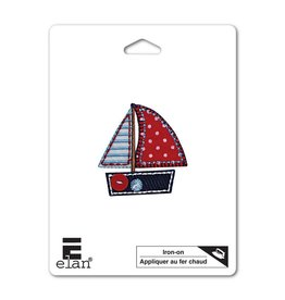 Hakidd Iron On Patch -Red Sail Boat - 70mm
