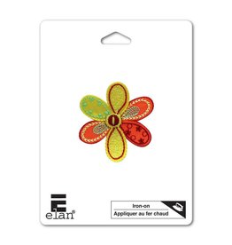 Hakidd Iron On Patch -Orange Flower - 46mm