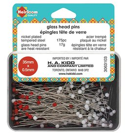 Hakidd HEIRLOOM Glass Head Pins - Red & White - 35mmx.5mm