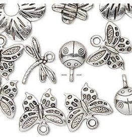 """Firemountain Beads Bead / component / charm, antique silver-plated """"pewter"""" (zinc-based alloy), 9x9mm-23x23mm assorted single- and double-sided insect and flower"""