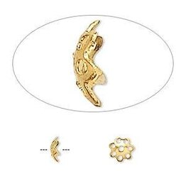 Firemountain Beads Bead cap, gold-finished  ass, 6x1.5mm flower with cutouts, fits 6-8mm bead. Sold per pkg of 100.