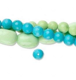 Firemountain Beads Bead mix, magnesite (dyed / stabilized), blue and green, 4-6mm round and small to medium nugget, Mohs hardness 5