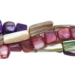 Firemountain Beads Bead mix, mother-of-pearl shell (natural / dyed), mixed colors, 5-15mm stick, Mohs hardness 3-1/2-2