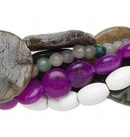 Firemountain Beads Bead mix, multi-gemstone (natural / dyed / manmade) and glass, mixed colors, 6-31mm mixed shape, C grade.