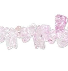 Firemountain Beads Bead, ice flake quartz (dyed / heated), pink, extra-large chip, Mohs hardness 7. Sold per 15-inch strand.