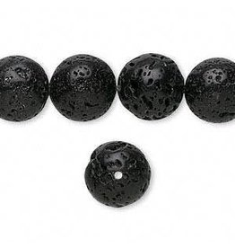 Firemountain Beads Bead, lava rock (waxed), 12mm round, B grade, Mohs hardness 3 to 3-1/2. Sold per 16-inch strand.