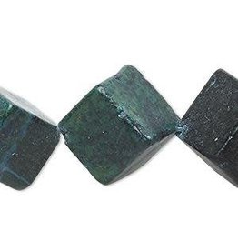 """Firemountain Beads Bead, yellow """"turquoise"""" (dyed / coated), blue, 21x21mm-23x23mm diagonally drilled cube, C grade, Mohs hardness 2-1/2 to 6."""